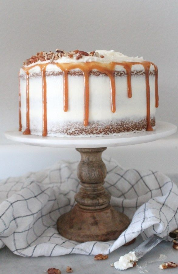 The BEST Carrot Cake with Cream Cheese Frosting and Caramel Drizzle -