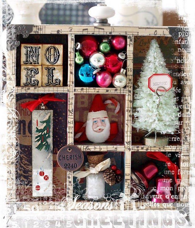 Vintage Christmas Shadowbox Repurposed Christmas Ornament Box Decoration Blue Christmas Mod Decor