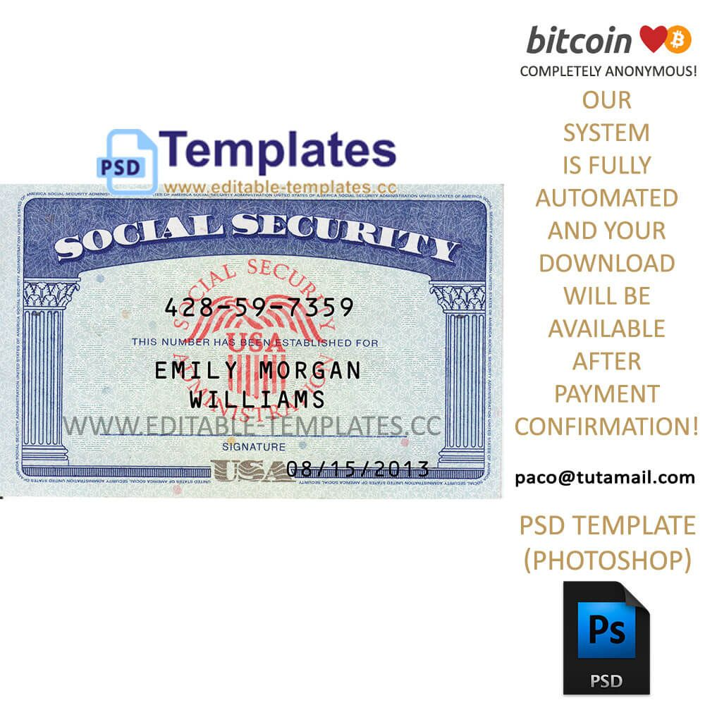 The Excellent Fully Editable Ssn Usa Psd Template With Regard To Social Security Card Template P Business Card Template Word Psd Templates Social Security Card