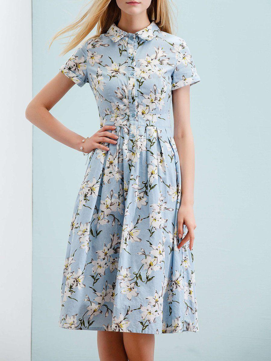 Adorewe stylewe midi dressesdesigner wifing cottonblend floral
