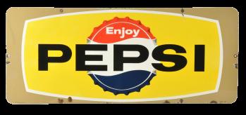 Lot 471 Enjoy Pepsi Bottle Cap Porcelain Sign Manifest Auctions Pepsi Bottle Cap Porcelain Signs Bottle Display