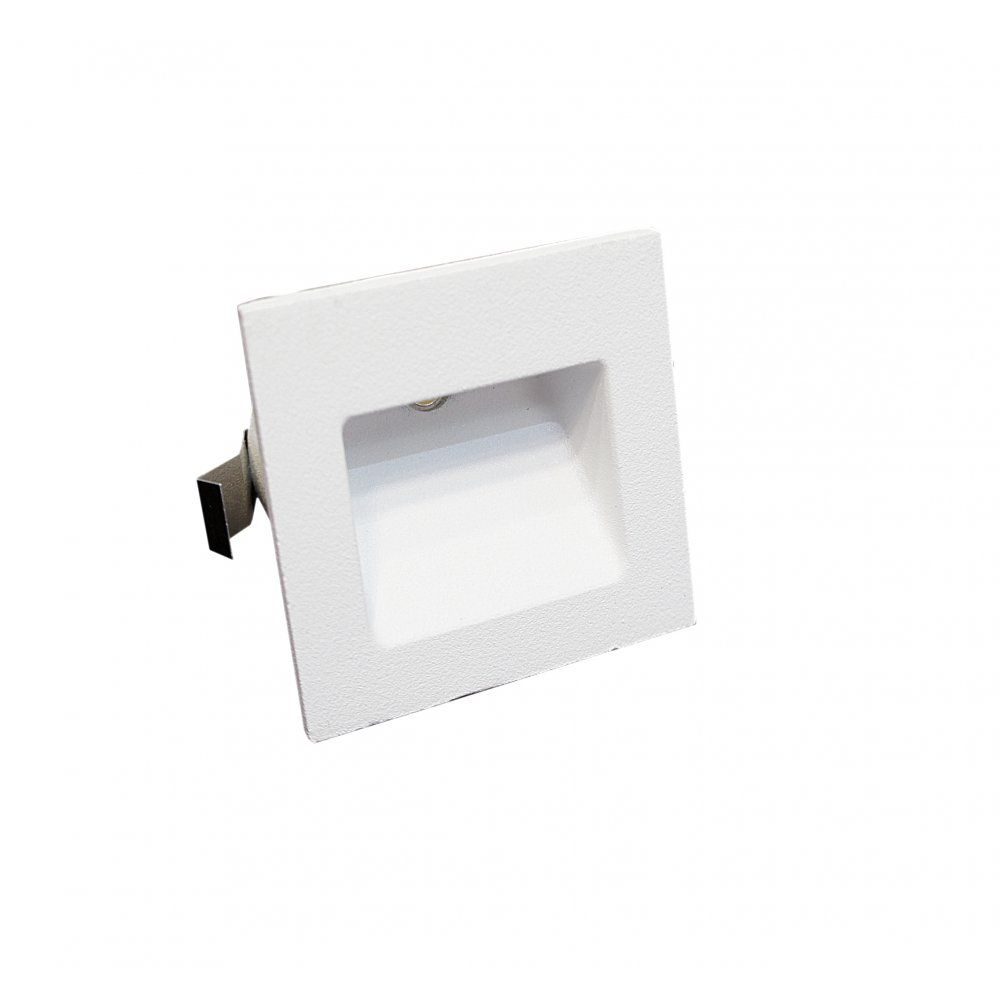 Arrow dimmable 3w small square recessed led wall light in matt white arrow dimmable 3w small square recessed led wall light in matt white ip44 3000k for stairs audiocablefo