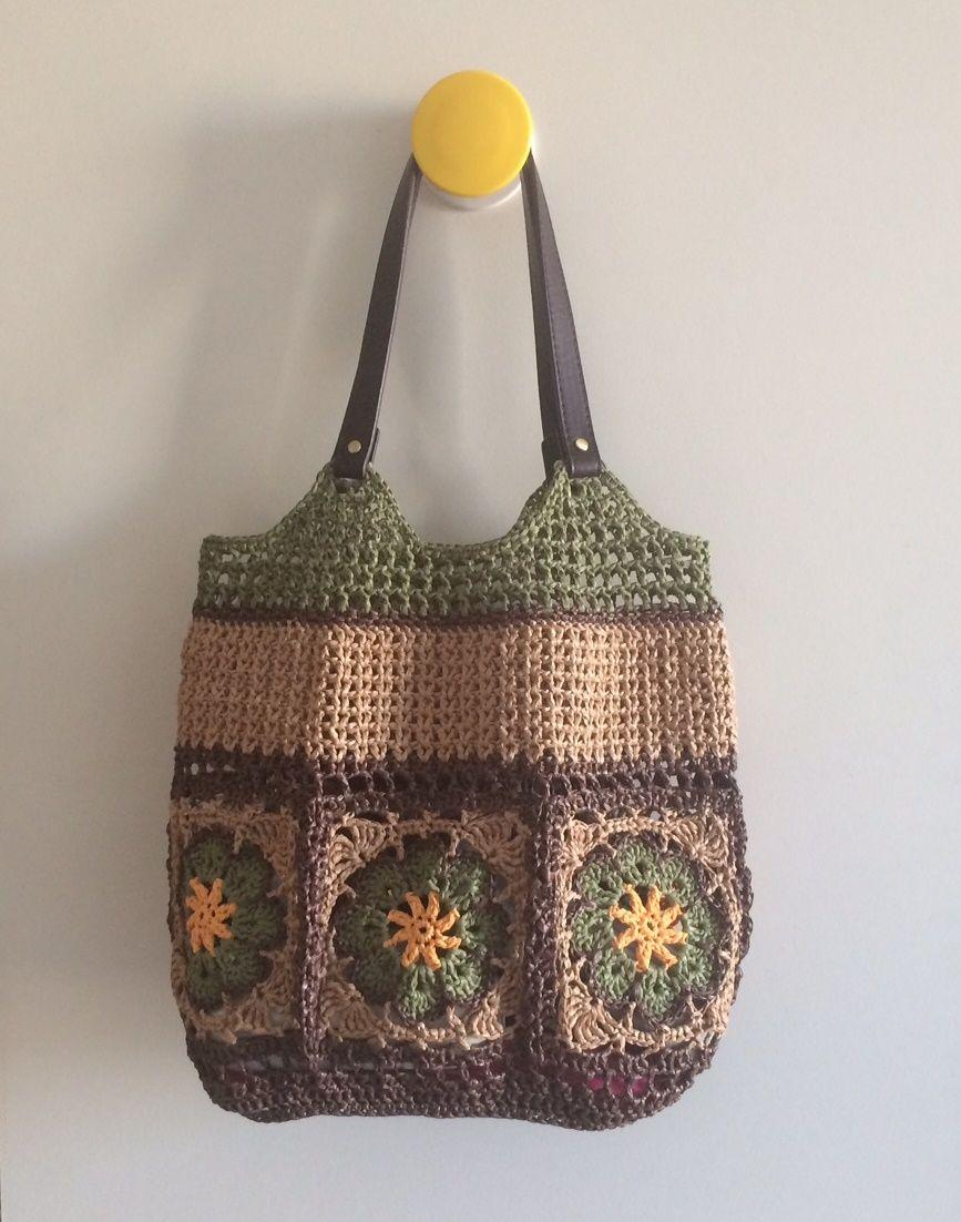 Raffia square african flower bag. | crochet | Pinterest | Bolsos ...