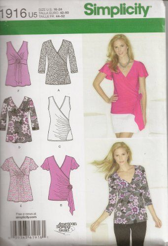 Simplicity Sewing Pattern 1916 Misses\' Knit Tops, Size U5 (16-18-20 ...