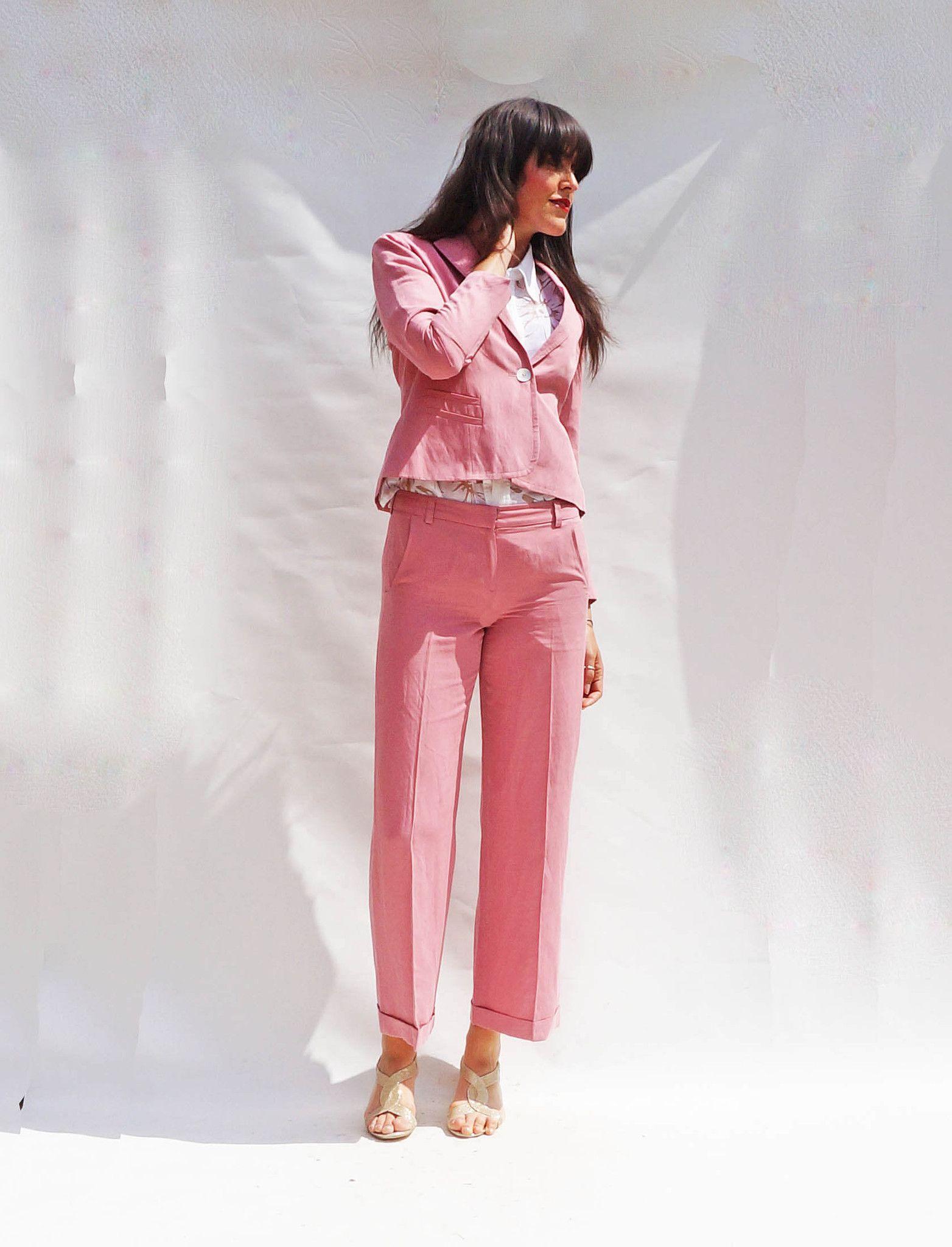 1b9ab47b2d3 Vintage 90s Dusty Pink Silk + Linen Trouser Suit