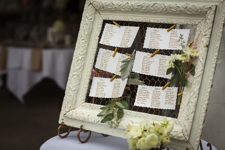 i did this diy project for the seating chart. this is where guests would look to find what table they would sit at. made with an antique frame, chicken wire painted gold, gold clothes-pins and flowers.
