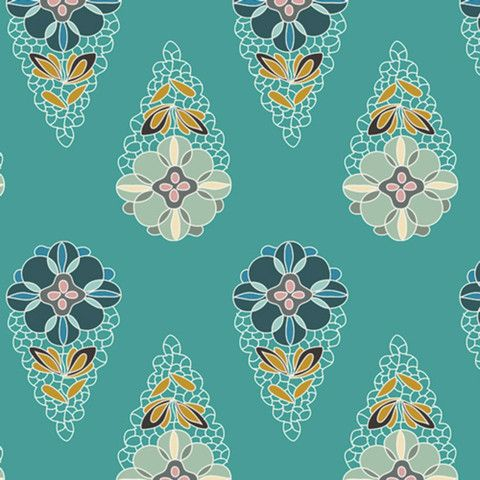 Art Gallery - Fantasia - Sara Lawson - Krokos Sprites in Teal by Bobbie Lou's Fabric Factory