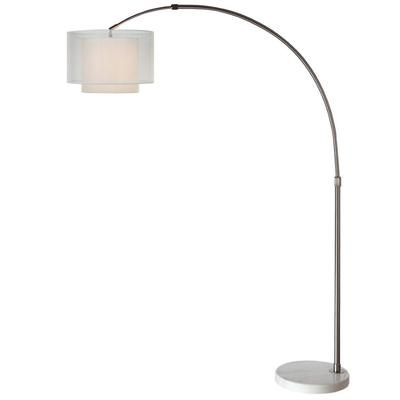 Trend lighting brella 74 in brushed nickel with marble base arc lamp