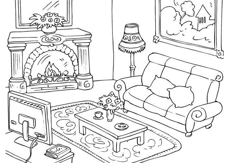 Dibujo para colorear salón | ARTISTICA | Pinterest | Dibujos, Aula y ...