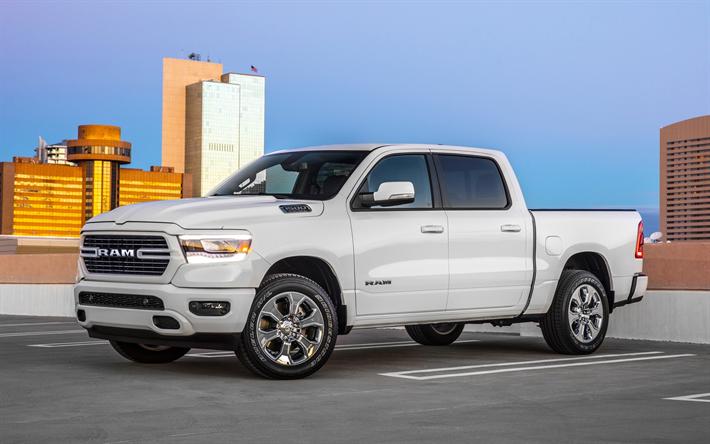 New Dodge Ram Truck >> Download Wallpapers Dodge Ram 1500 Crew Cab 2019 White