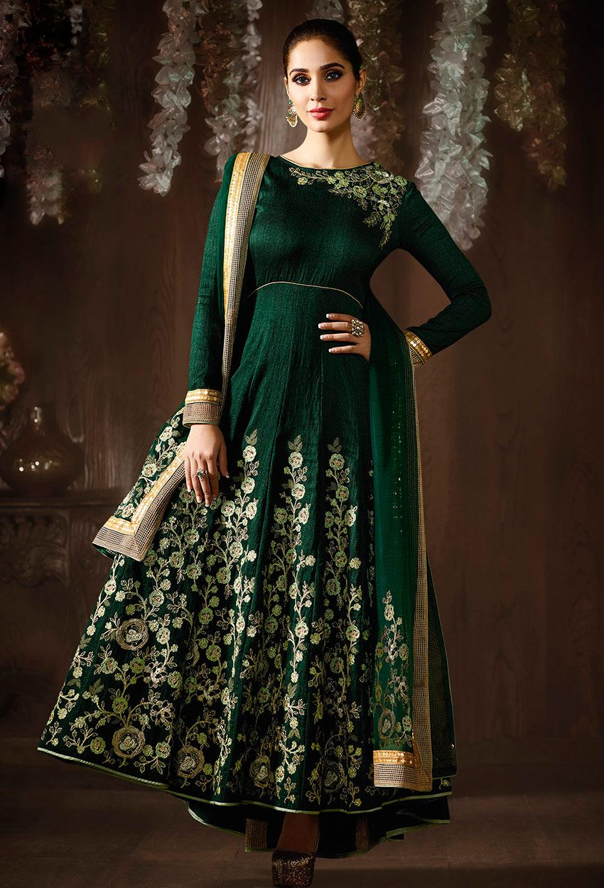 196578e775 Bottle Green Raw #Silk Long #Anarkali #Salwar #Suit #nikvik #usa #designer  #australia #canada #freeshipping