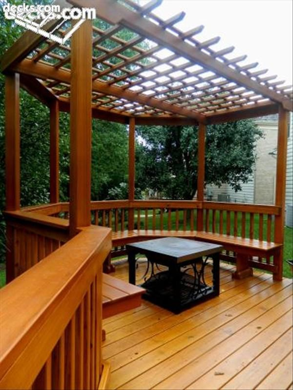 Porch square cedar columns stone base this wood pergola for How to build an octagon deck