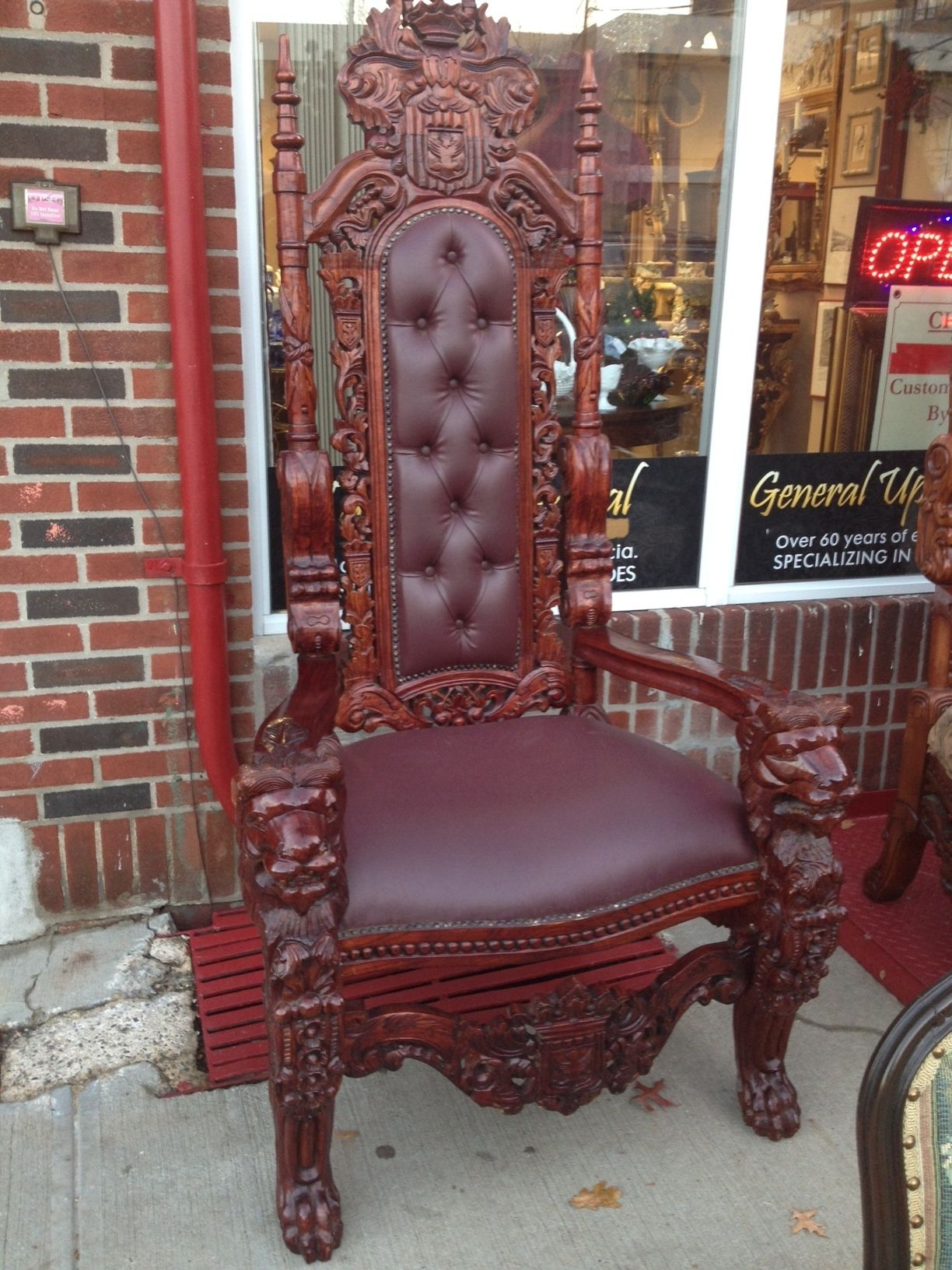 Leather Lion Throne Chair Throne Hand Carved Mahogany Chair