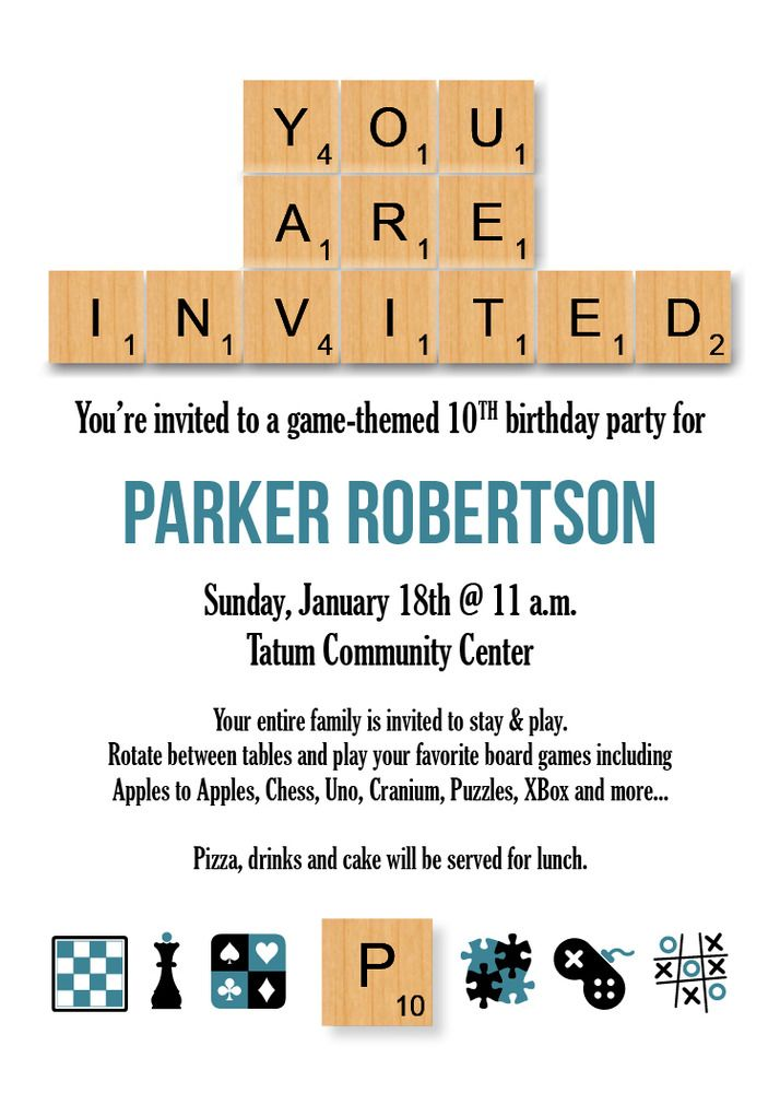 Game Themed Scrabble Party Invitation | Game night, White ...