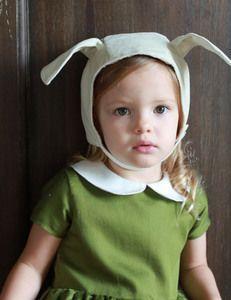Ivory Velveteen Bunny Bonnet