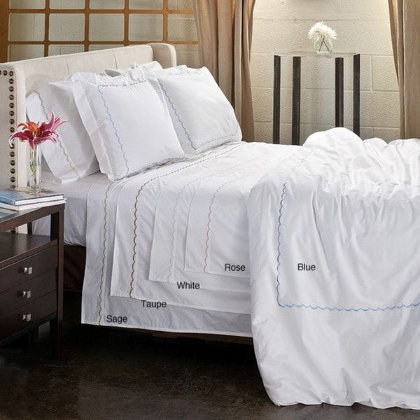 Scallop Embroidery 300 Thread Count Cotton Percale 3-piece Duvet