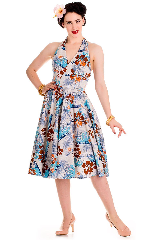 172018836ae Blue Hawaiian Tiki 50s Dress by Hell Bunny