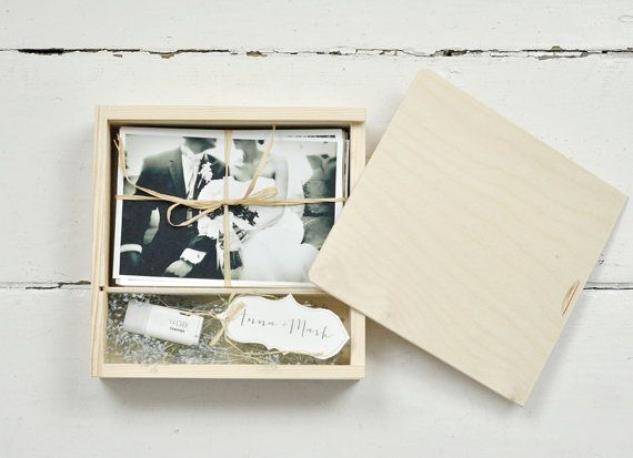 | Wooden wedding photo box for prints 10x15cm box for photos and usb Set of 20 boxes  4x6