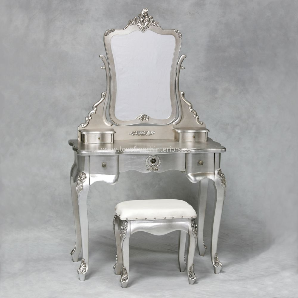 Superb From Our Antique Silver Collection Of French Furniture Is This Lightly  Carved Dressing Table Mirror And Stool Set The Table Has Three Useful  Storage