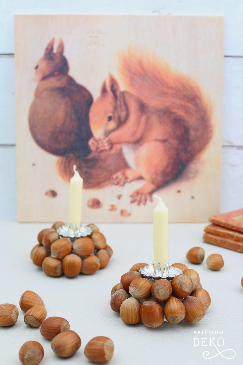 Diy Kerzenständer Mit Haselnüssen Natürlich Deko Weihnachtdeko Basteln Basteln Weihnachten Naturmaterialien Herbstdeko Basteln Naturmaterialien