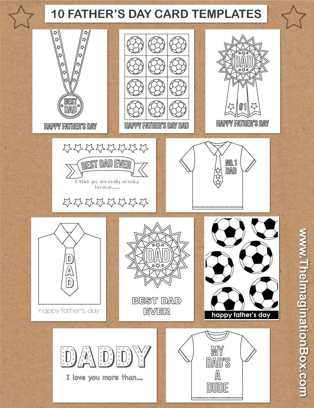 10 Father 39 S Day Card Templates For Kids To Print And Decorate Instant Pdf Download Father 39 S Day Father S Day Card Template Creative Cards Fathers Day