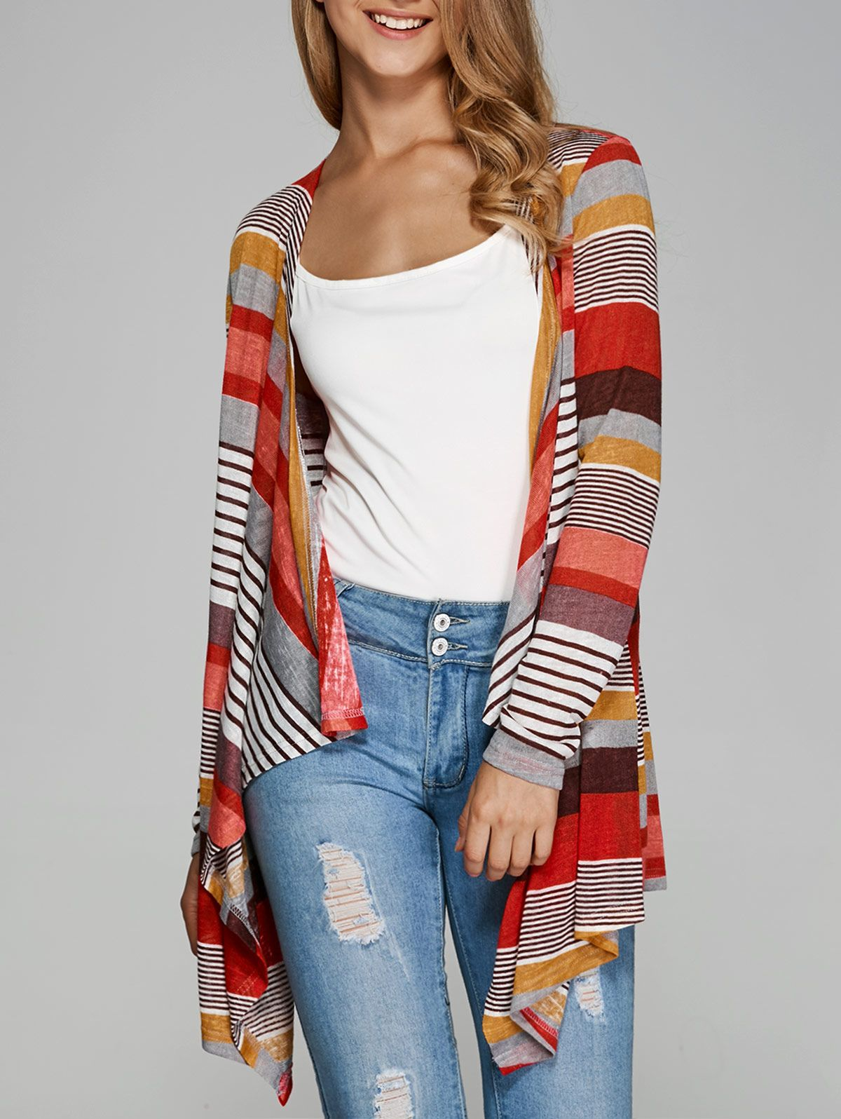Colorful Striped Asymmetrical Cardigan | Wholesale products and ...