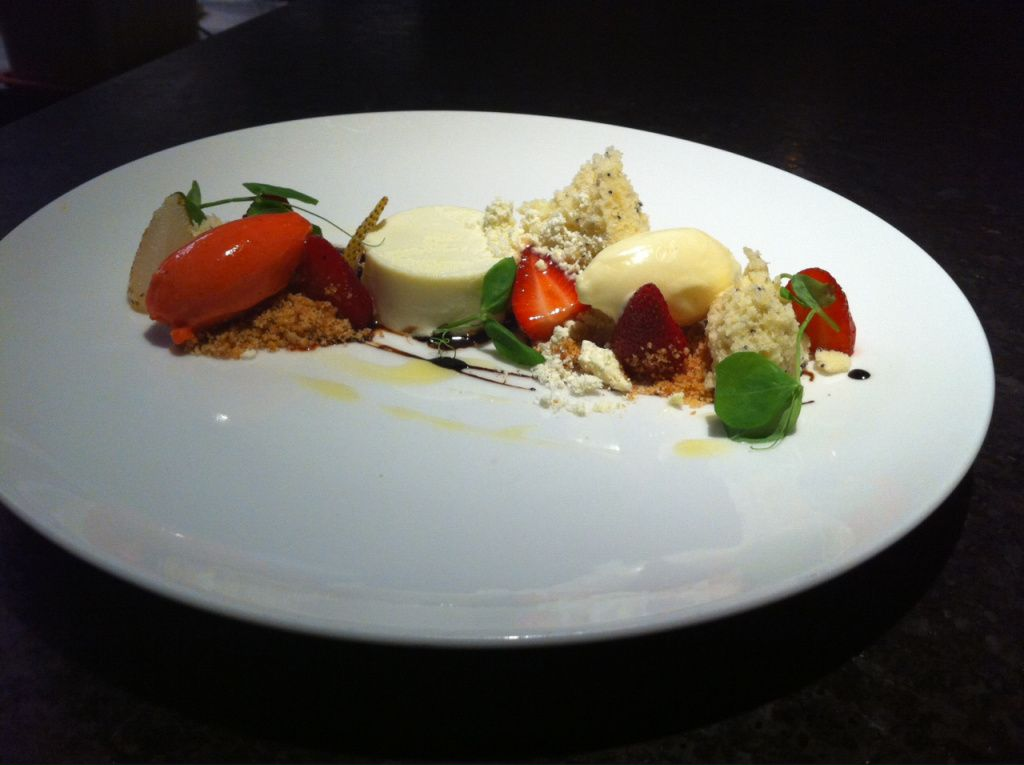 olive oil panna cotta, torn pieces of poppy seed pound cake