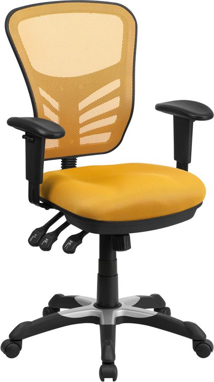 $114.99 Mid Back Yellow Orange Mesh Chair With Triple Paddle Control,  HL 0001 YEL GG By Flash Furniture | BizChair.com