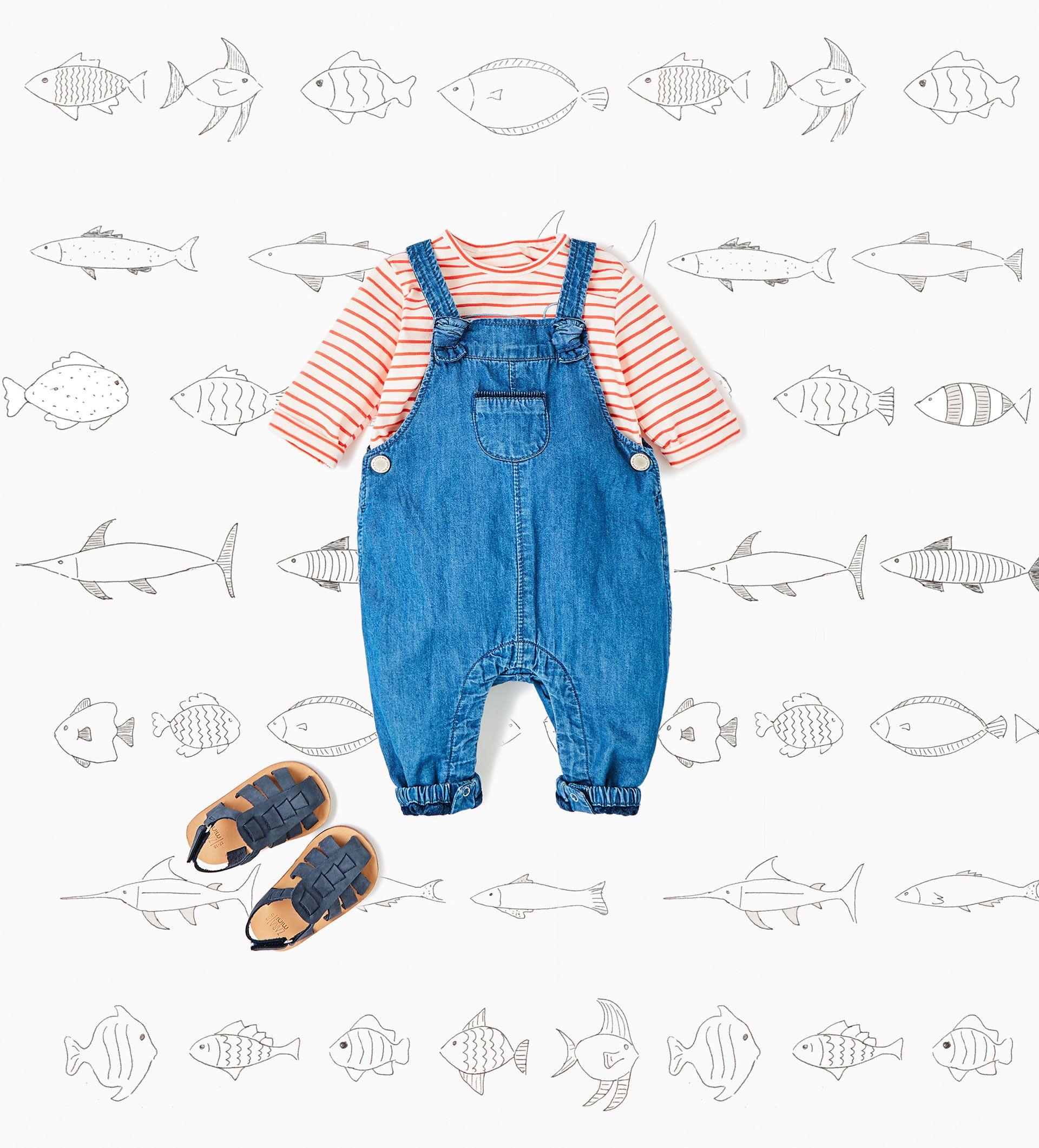 Baby boy overalls striped shirt crib shoe sandals from Zara Baby