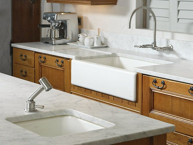 Too Pricey Dickinson Apron Front Kitchen Sink With Four Faucet