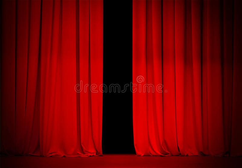 Red Curtain On Theatre Or Cinema Stage Slightly Open Ad