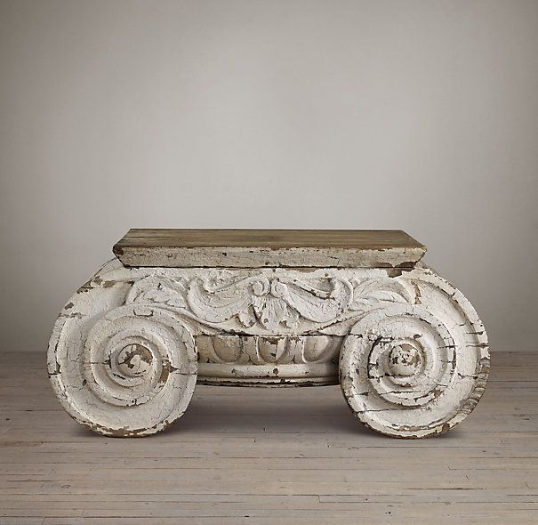 DISTRESSED IONIC CAPITAL COFFEE TABLE A Salvaged Wooden Ionic Capital  Served As The Inspiration For Our Striking Table. It Is Derived From 1 Of  The 3 Orders ...