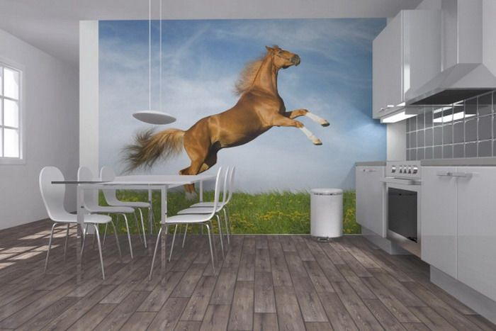 Dining Room Ideas With Horse Mural Decor