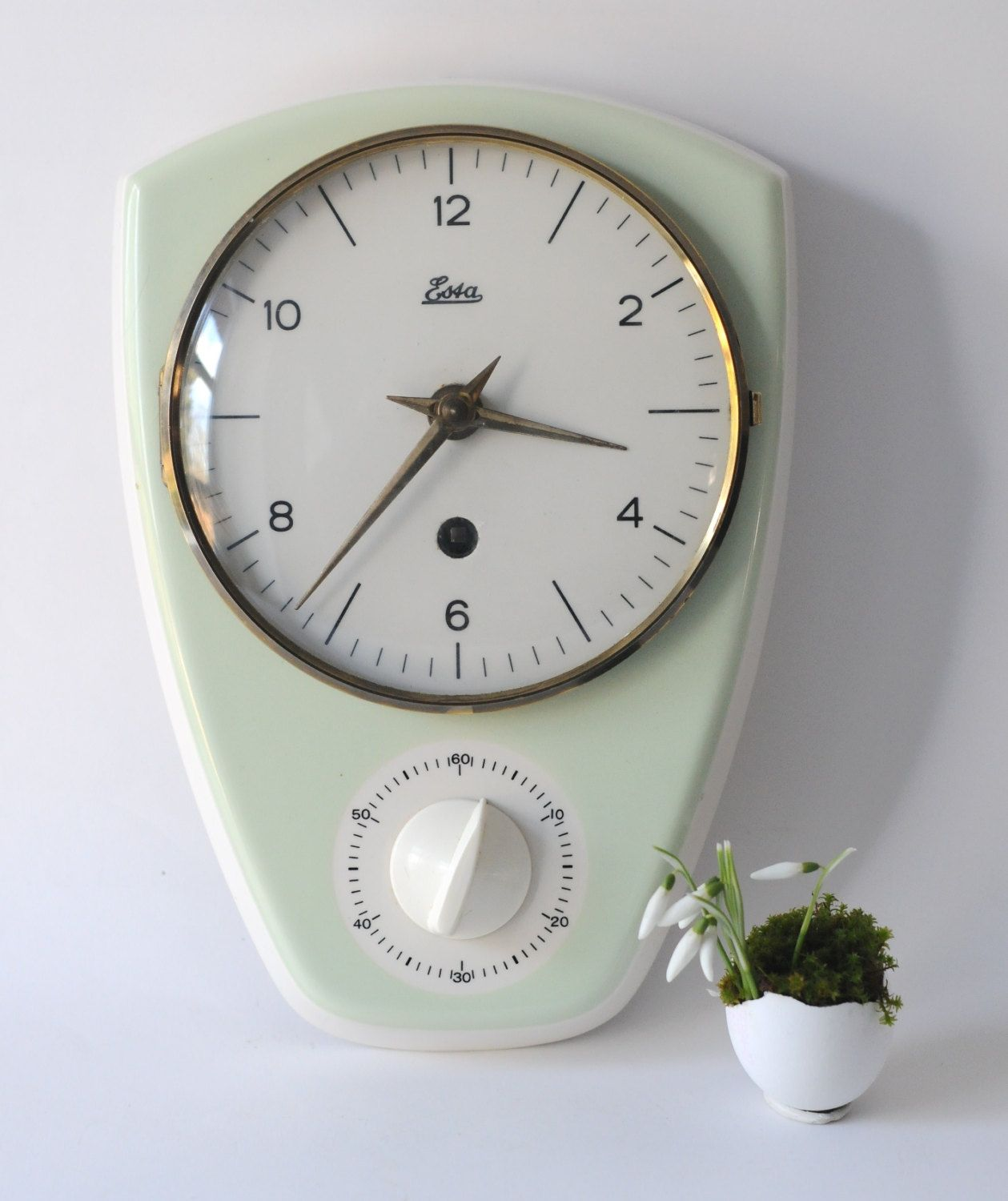Vintage kitchen clock esta 1950 kitchen wall clock with timer vintage kitchen clock esta 1950 kitchen wall clock with timer made in germany amipublicfo Images