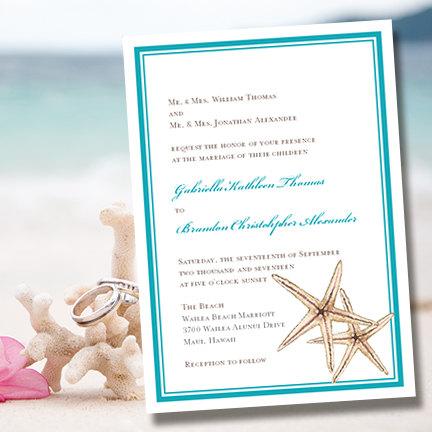 Printable Wedding Invitation Template Beach Starfish Instant