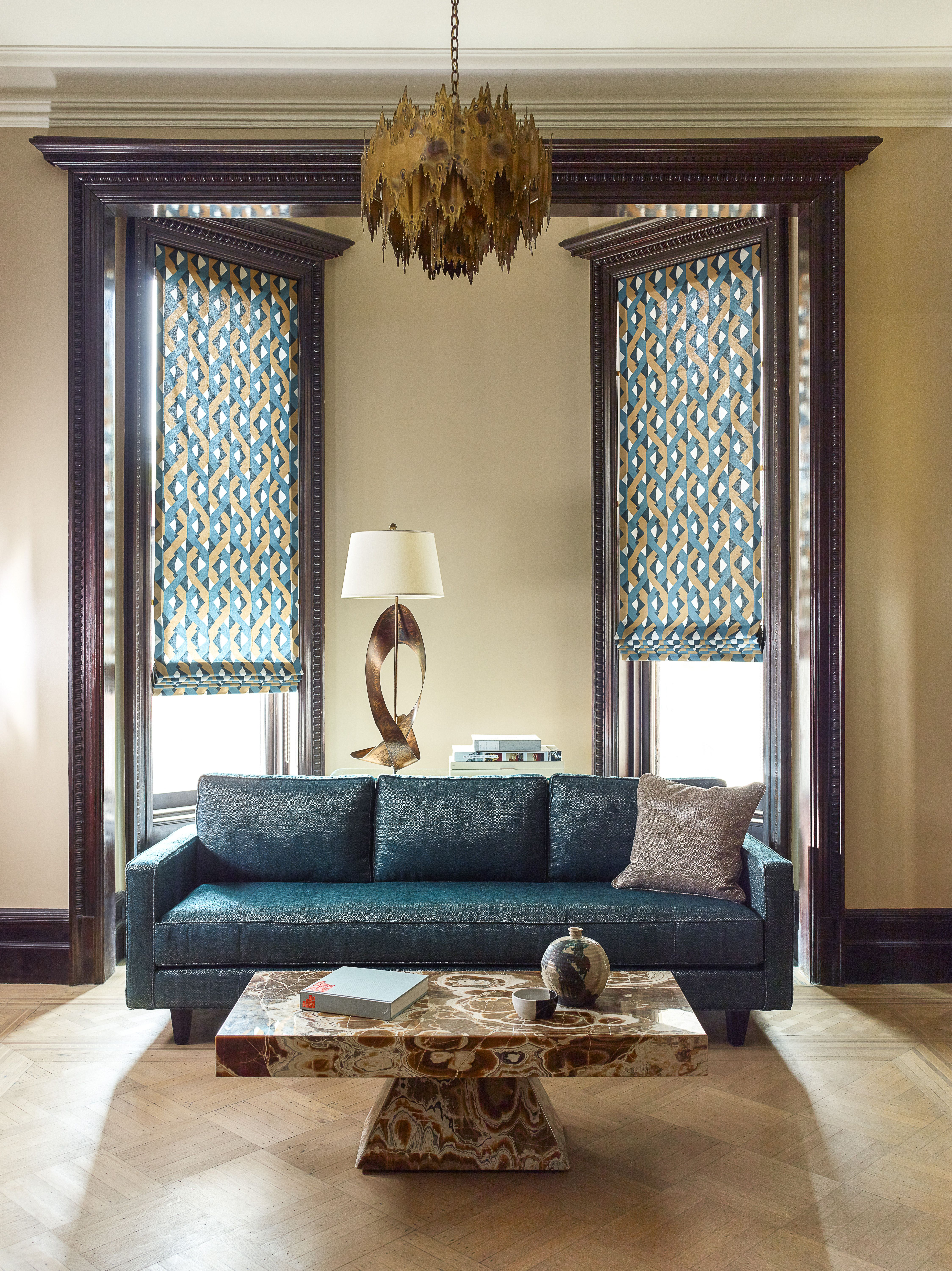 Inside mount window treatments - Try Inside Mount Flat Roman Shades In A Bold Print To Complement Craftsman Style Woodwork