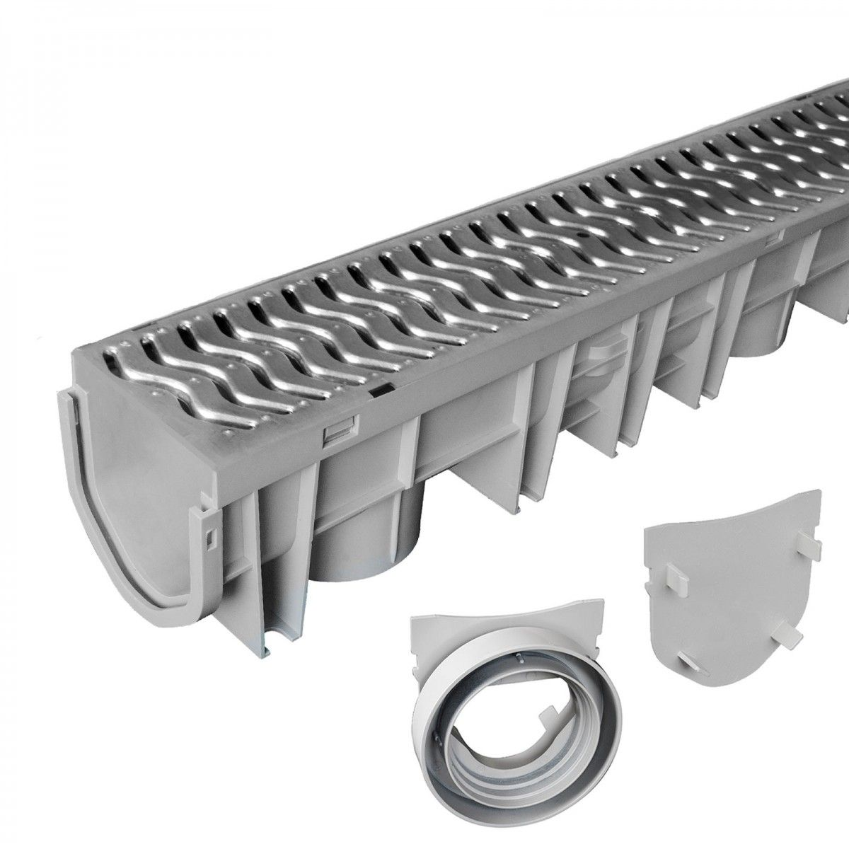 Source 1 Drainage S1e Glvch Trench Driveway Channel Drain Kit With Galvanized Steel Grate Drainage Galvanized Steel Trench Drain Systems