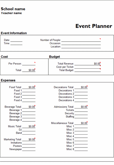 Eventplannertemplatepng Pixels Ptsa Hospitality - Event planning invoice template