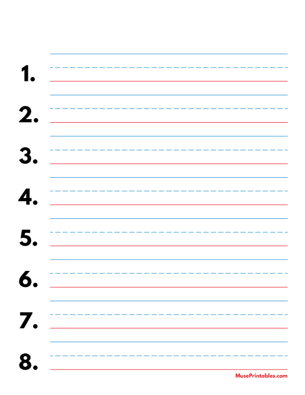 Printable Blue And Red Numbered Handwriting Paper 3 4 Inch Portrait For Letter Paper Free Download Handwriting Paper Letter Paper Alphabet Writing Practice