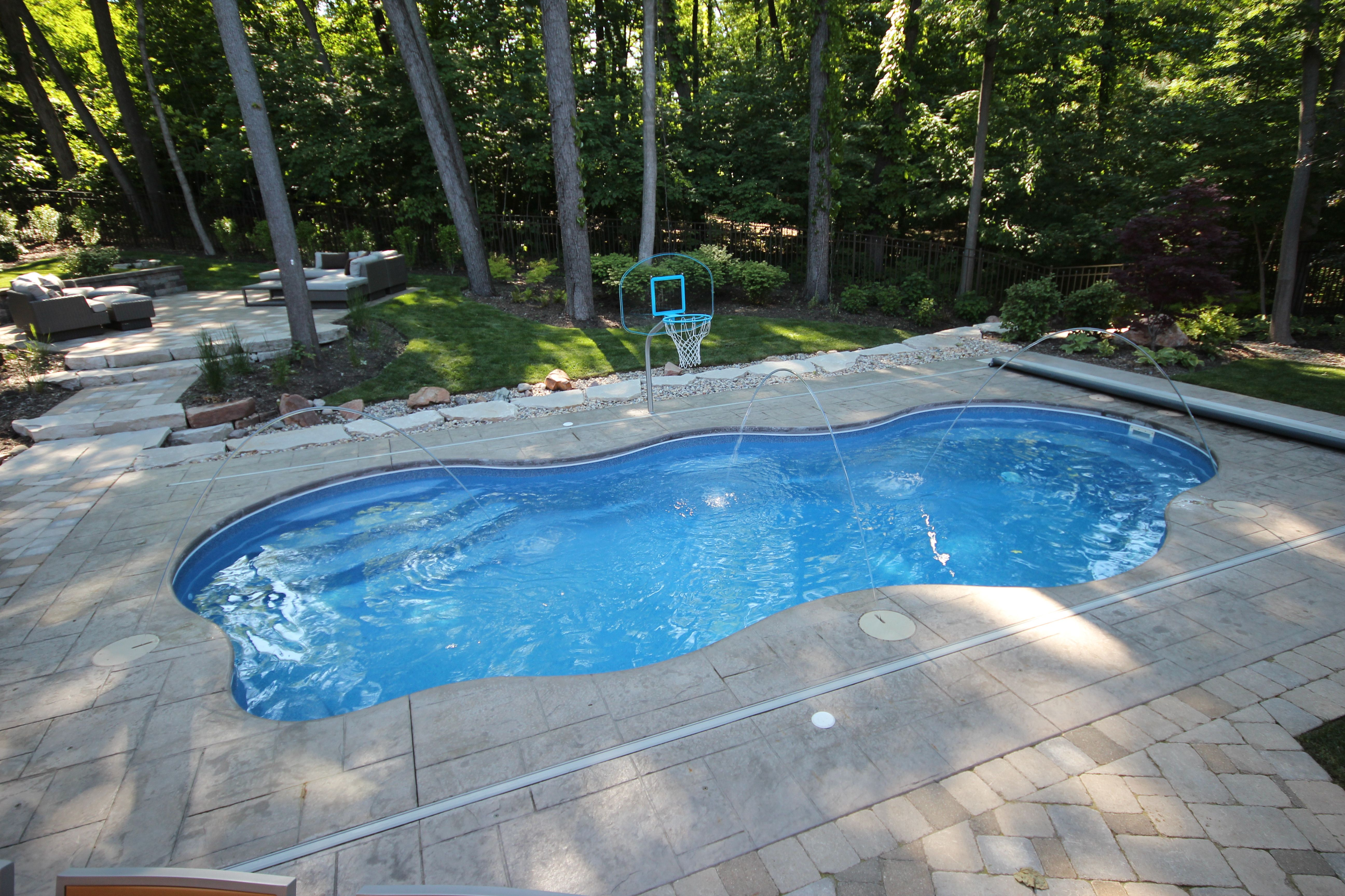 This Is A Viking Laguna With A Coverstar Automatic Pool Cover Installed In Frankfort I Swimming Pool Waterfall Fiberglass Swimming Pools Inground Pool Designs