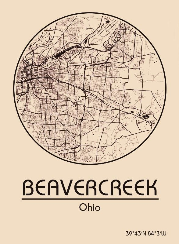 Karte / Map ~ Beavercreek, Ohio - Vereinigte Staaten von Amerika / United States of America / USA