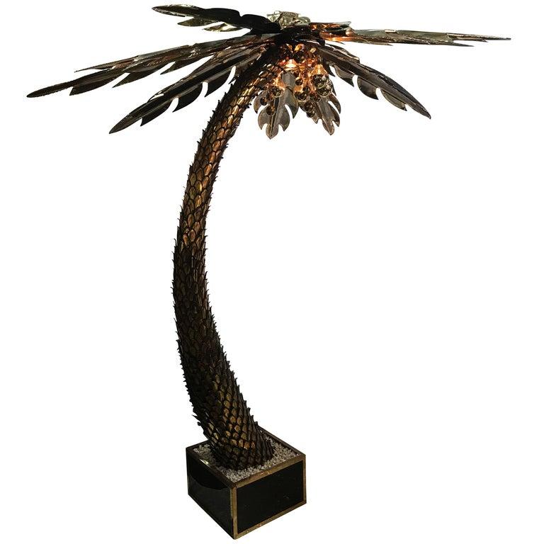 Maison Jansen Brass Palm Tree Floor Lamp For Sale At 1stdibs Tree Floor Lamp Floor Lamp Floor Lamp Lighting
