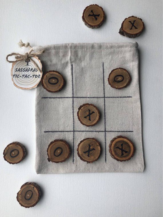 Photo of Sassafras Tic Tac Toe Travel and Camping Game, Cabin Decor Rustic Wedding Favor, Glamping game