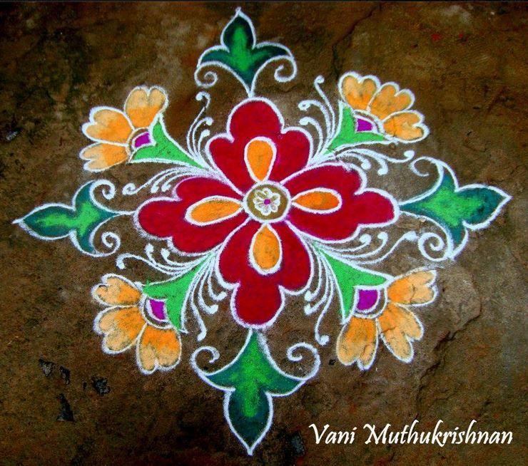 Wonderful flower kolam Rangoli colours, Beautiful