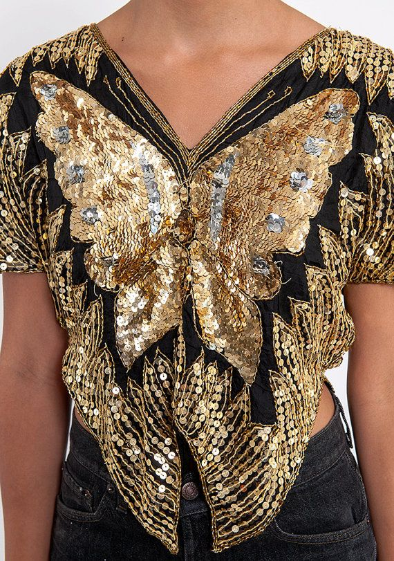 The Sequin Butterfly Gatsby Holiday Gold and Black Tunic