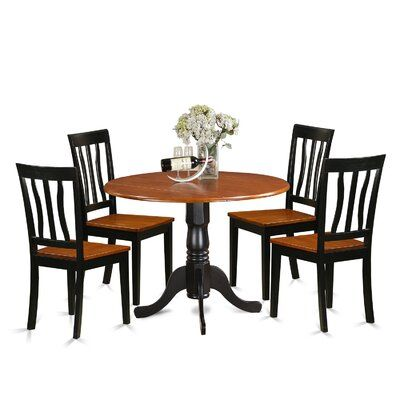 Charlton Home Slavens 5 Piece Drop Leaf Solid Wood Dining Set Table Base Colour Black And Cherry In 2020 Dining Room Sets Solid Wood Dining Set Dining Table