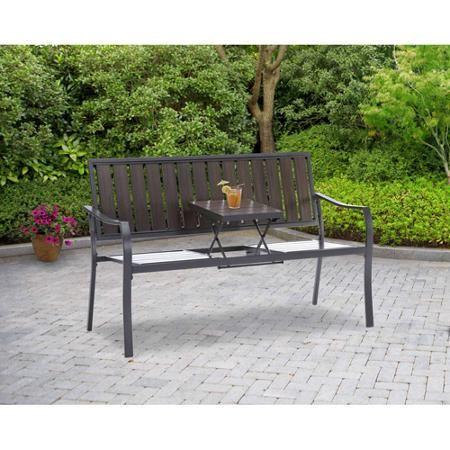 Mainstays Endurowood Pop Up Bench Seats 2 Metal Patio Furniture