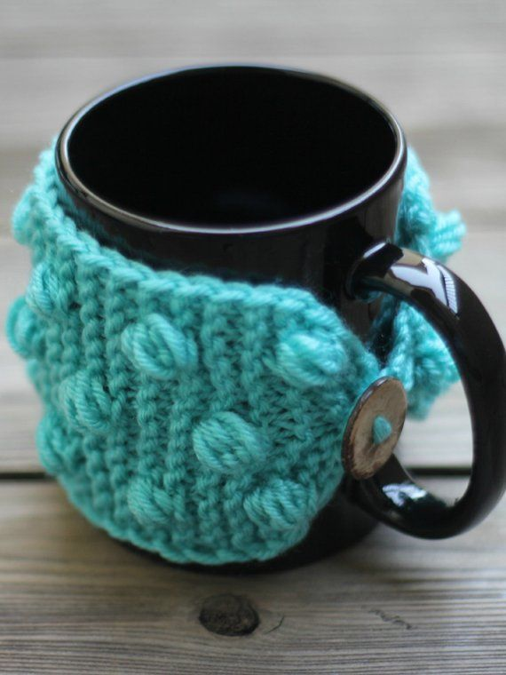 Knit pattern mug cozy with nupps, cup cozy, bobbles cup ...