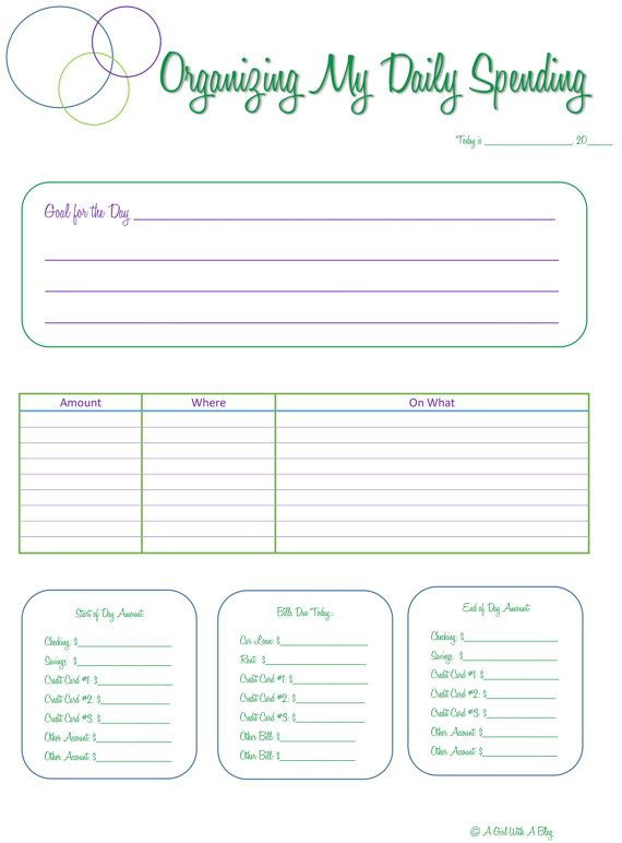 Daily Spending Worksheet by GirlwBlogDesignsCA on Etsy