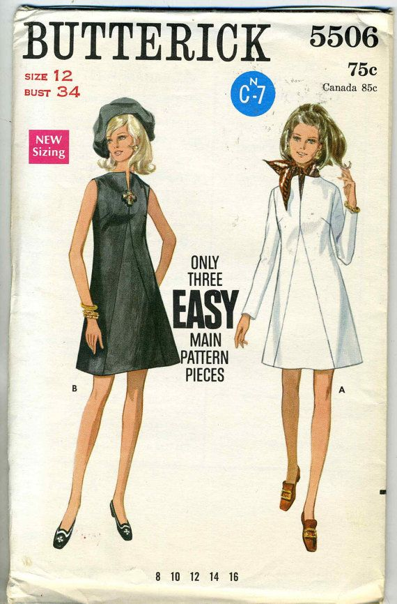 Vintage 1960s Butterick 5506 UNCUT Misses A-Line Dress with Seam ...